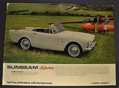 1964 Sunbeam Alpine Sales Brochure Sheet Original 64