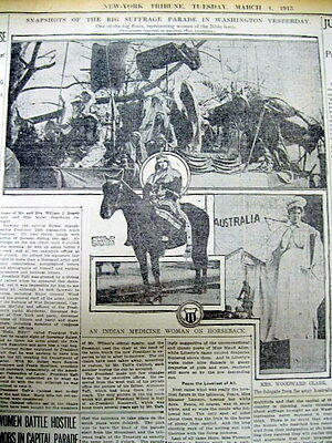 2 1913 newspapers 1st WOMENS SUFFRAGE PARADE in Washington DC -w Pics & Descript