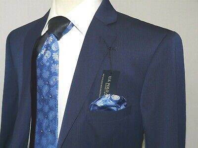 Mens Suit US POLO ASSN Single breasted two Button Business semi Slim 5024S Navy