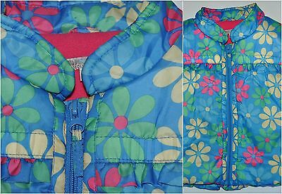 Indigo M&s Girls Age 2-3 Years 98Cm Gilet Vest Bodywarmer Jacket Blue Floral