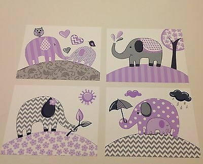 LAVENDER GRAY PURPLE  ELEPHANT KIDS CHEVRON baby children NURSERY wall art decor