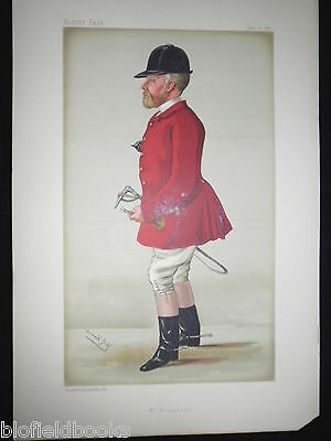 Original Col John Hargreaves-1887 Victorian Vanity Fair Fox Hunter/Hunting Print