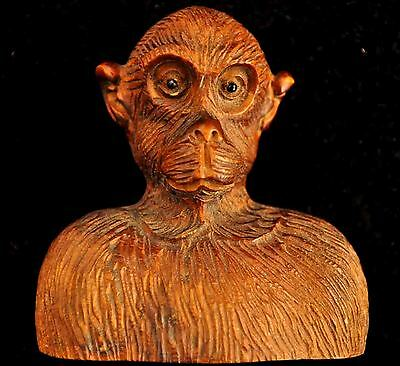 """Antique Japanese """" SIGNED"""" Hand Carved Wooden Monkey With Black Eyes"""