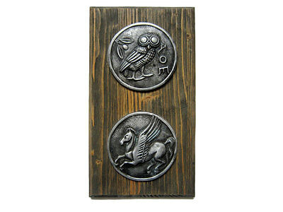 Huge Decorative Ancient Greek Coins Plaque On Wooden Plate!!!
