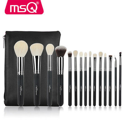 MSQ Professional 15PCs Makeup Brushes Set Powder Cosmetic Tool Natural Hair Case