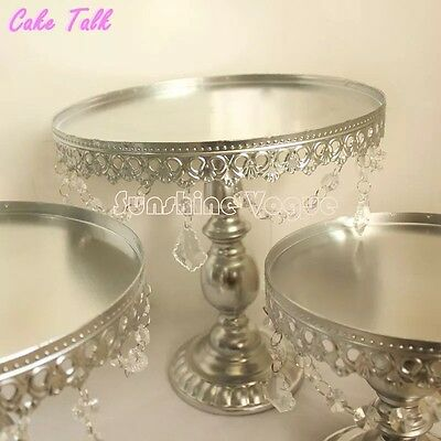 12 Inch / 30cm Silver Cake Stand With Pendent Charm For Wedding, Birthday