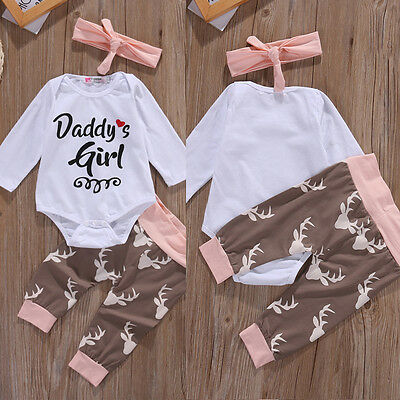 Newborn Infant Baby Girl Daddy's Girl Clothes Romper Pants Bodysuit Outfits Sets
