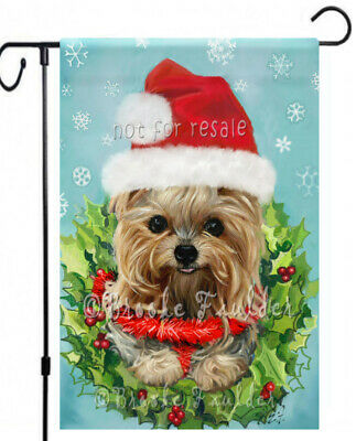 YORKIE painting GARDEN FLAG Dog Art Yorkshire Christmas Catching Snowflake NEW