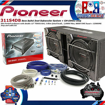 "Pioneer 310S4Db Double 12"" Dual Bass Pack Car Audio Sub 2800W Gm-D9601 Mono Kit"