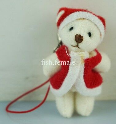 "2"" Christmas Gift Doll Santa Claus Beige Teddy Bear Plush toy Ornament Key Clip"