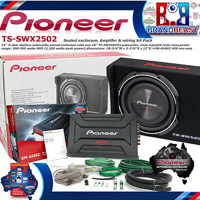 """Pioneer TS-SWX2502 1200w 10"""" Shallow Mount Subwoofer Slim Ute Bass Kit Gm-a5602"""