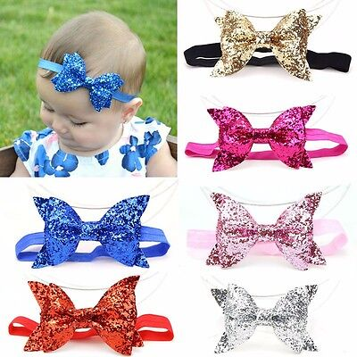 Baby Infant Girls Sequined Bow Hair Band Headband Turban Knot Hair Accessories