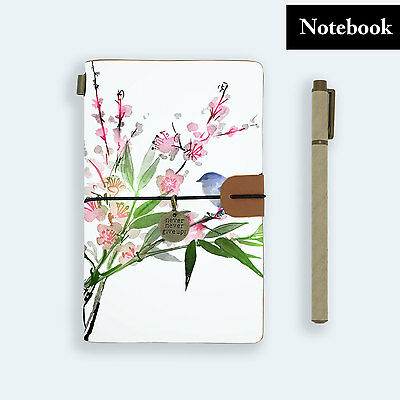 Genuine Leather Journal Travel Diary Travelers Notebook Size Bird Pink Flower