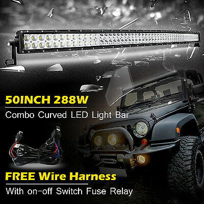 50inch 288W Curved Led Light Bar Spot Flood Combo Work Driving Offroad Jeep 52