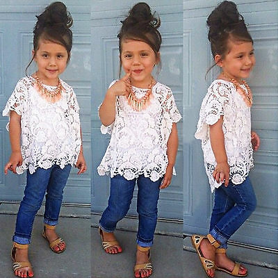 3Pcs Baby Girls Kids Clothes Tank Top + Lace T-Shirt + Jeans Pants Outfits Sets