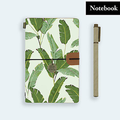 Genuine Leather Journal Travel Diary Travelers Notebook Size Green Leaves