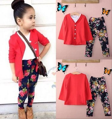 3pcs Set Girls Red Tops Cardigan Coat + T-shirt+ Flower Pants Outfits Clothes