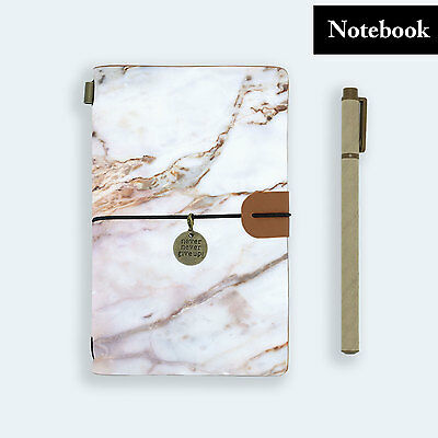 Genuine Leather Journal Travel Diary Travelers Notebook Size Marble Gemstone
