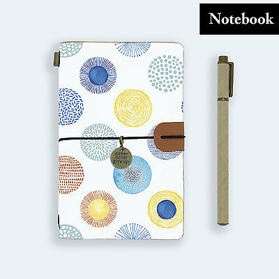 Hand Made Genuine Leather Journal Travel Diary Travelers Notebook Size Firework