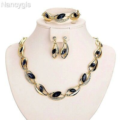 Gold Plated Dark Blue Crystals Necklace Bracelet and Earrings Jewellery Set
