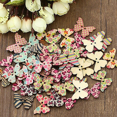 50pcs Multicolor Wood Natural Butterfly Sewing Scrapbook Craft Decor Buttons
