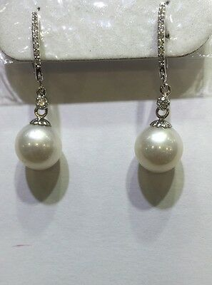 Pre Owned 18k Solid White Gold Dangle Earrings with Natural Diamonds and Pearl