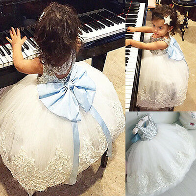 Baby Kids Girl Bowknot Lace Floral Dress XMAS Party Formal Bridesmaid Dresses