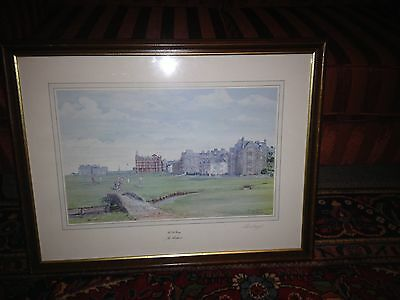Signed golf picture ST ANDREWS, PRINT SIGNED BY ARTIST Bill Waugh Framed