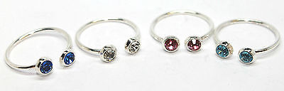 New Thailand Sterling Silver CZ Gem Round Adjustable Wire Toe Finger Open Ring