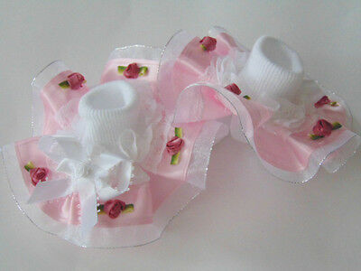 Girls Romany Bling Party Dance Frilly Socks In Pink With Roses~Hand Made