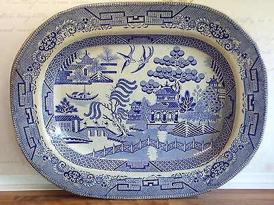 """antique staffordshire  blue & white transfer willow pattern large charger 18""""x14"""