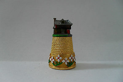 Gold Plated Pewter Thimble - Hand Crafted Thimble Village Series