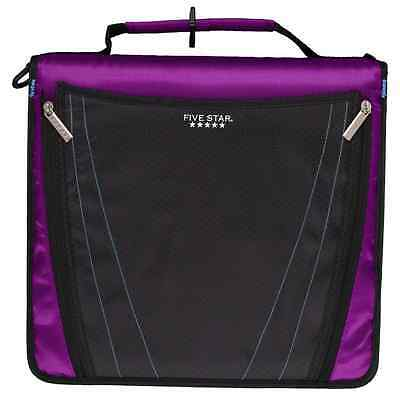 Five Star Zipper Binder with Expanding Pocket, 2 Inch, 3 Round Ring Binder, Purp