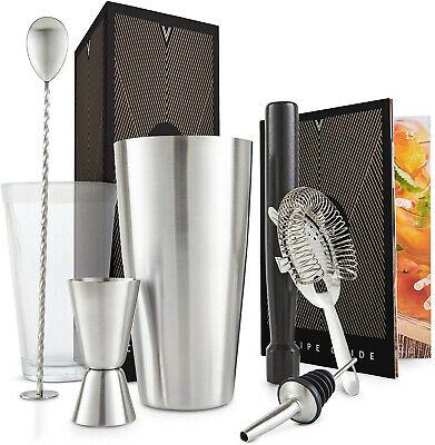 VonShef Cocktail Set 8pc Boston Shaker Making Kit Gift Bar Stainless Steel