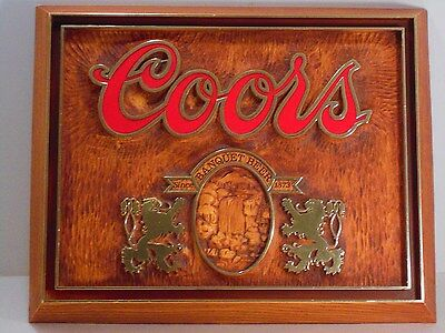 Vintage 1985 Coors Banquet Beer Wood Look Sign Waterfalls, Griffins, Since 1873