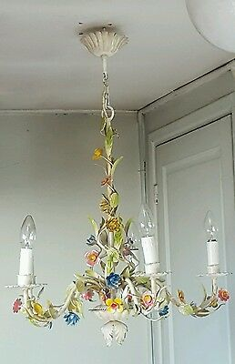 Italian tole chandelier 5 lights pastel little flowers