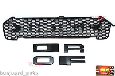 Front Protor Lit Grill With 3 Led Lights Black For Ford Ranger 2015 2016 Grill