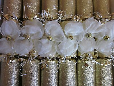 Luxury Handmade Gold N Cream Jingle Bell Christmas Crackers Box Of 6