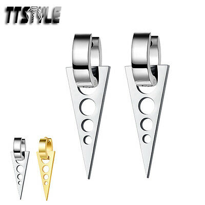 TTstyle Stainless Steel Hoop Circle Triangle Dangle Earrings NEW