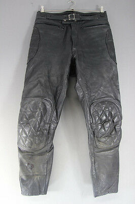 Vintage Black Leather Biker Trousers: Waist 32 Inches/inside Leg 29 Inches