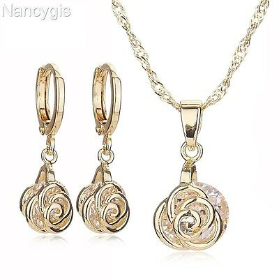 Yellow Gold Crystal Behind Rose Pendant Necklace and Earrings Jewellery Set