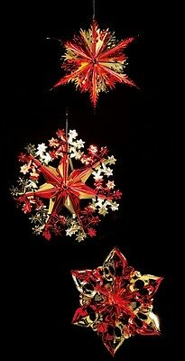 Set Of 3 Foil Hanging Christmas Decorations Star Snowflake 40cm Red & Gold