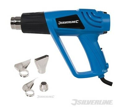Pro Silverline 2000W Variable Speed Hot Air Heat Gun Wallpaper Stripper Nozzles