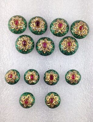 VINTAGE VICTORIAN GOLD -SILVER-DIAMOND POLKI KUNDAN ENAMEL WORK BUTTON SET-13 Pc
