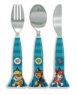 Paw Patrol Good Pups | Chase 3pc Metal Knife, Fork & Spoon Mealtime Cutlery Set