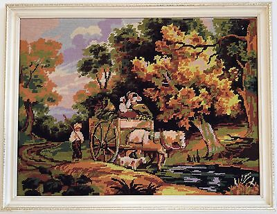 Completed Tapestry Countryside Horse And Cart Going To Market Frame Not Included