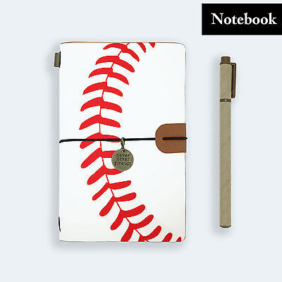 Hand Made Genuine Leather Journal Travel Diary Travelers Notebook Size Baseball