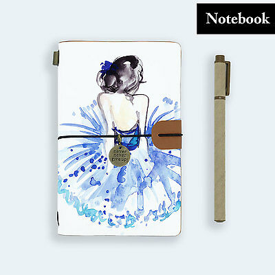 Genuine Leather Journal Travel Diary Travelers Notebook Size Ballet Dancer