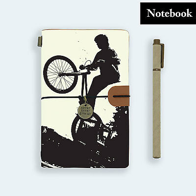 Hand Made Genuine Leather Journal Travel Diary Travelers Notebook Size Bicycle