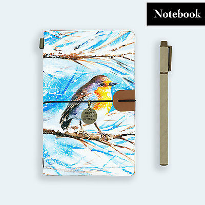 Hand Made Genuine Leather Journal Travel Diary Travelers Notebook Size Bird